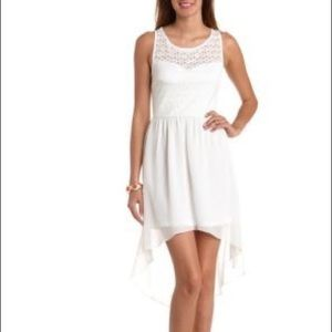 🎉 NWT Charlotte Russe White Lace Hi-Low Dress